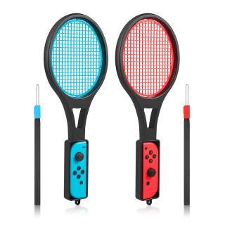 Tennis Racket for Nintendo Switch - innoAura Tennis Racket for Joy-Con Controllers for Mario Tennis Aces (2Pcs, Black)