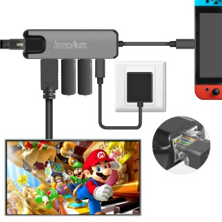 Adaptateur Multiport de Type C pour Nintendo Switch – innoAura Station Dock USB C avec Convertisseur 4 K HDMI, Port de Charge USB-C PD, Gigabit Ethernet, 2 Ports USB 3.0 pour Nintendo Switch, Fonctionne comme Dock de Nintendo Switch